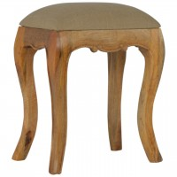 French Style Stool with Mud Linen Seat Pad