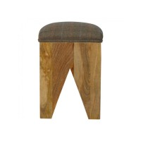 Solid Wood Cut Out Stool with Multi Tweed Seat Pad
