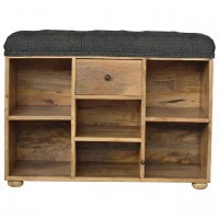 Upholstered Black Tweed 6 Slot Shoe Storage Bench