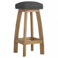Upholstered Black Tweed Bar Stool