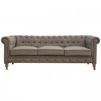 Multi Tweed 3 Seater Chesterfield Sofa