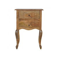 2 Drawer Bedside with French Design Legs
