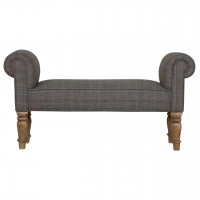 Multi Tweed Bedroom Bench with Turned Feet