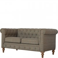 Multi Tweed 2 Seater Chesterfield Sofa