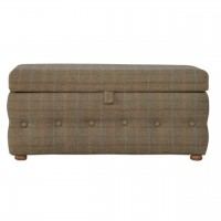 Multi Tweed Deep Button Footstool