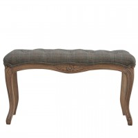 Multi Tweed Carved Bedroom Bench