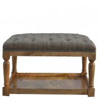 Multi Tweed Footstool with Shelf