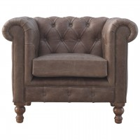 Buffalo Hide Leather Chesterfield Armchair
